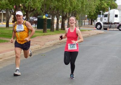 39 Andrew Kuerschner 10K run & Meg Grover 5K run finishing